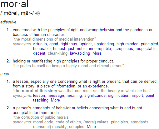 Definition of Moral